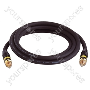 Premium Video Gold Plated Phono to Phono lead With 75 Ohm Coax Cable - Lead Length (m) 2