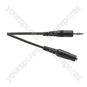 Standard 3.5 mm Stereo Jack Plug to 3.5 mm Stereo Jack Socket Lead - Lead Length (m) 3