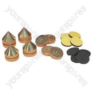 Set Of 4 Turned Brass Height Adjustable Speaker Spikes