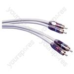 Premium 2 x Heavy Duty Gold Plated Phono Plugs to 2 x Heavy duty Gold Plated Phono Plugs Screened Lead - Length (m) 1