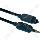 Premium Toslink Plug to 3.5 mm Fibre Optic Plug Fibre optical Lead  1m