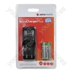 AGFA PHOTO AA/AAA Overnight Charger with 2 x 1300mAh AA NiMH Batteries