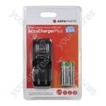 AGFA PHOTO AA/AAA Overnight Charger with 2 x 1300mAh AA NiMH Batteries