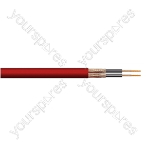 Heavy Duty 2 Core Screened Microphone Cable 100m - Colour Red