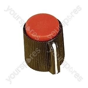 6.35mm Plastic Pointer Knob with Coloured Cap - Cap Colour Red