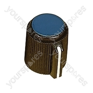 6.35mm Plastic Pointer Knob with Coloured Cap - Cap Colour Blue