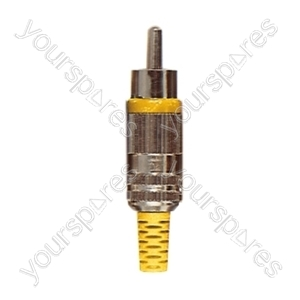 Phono Plug with Metal Cover , Colour Coded Band and Solder Terminals - Colour Yellow
