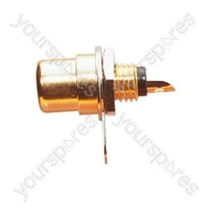 Gold Plated Phono Chassis Socket With  Colour Coded Insulator, Single Fixing Hole and Solder Terminals - Colour Red
