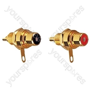Red/Black Set of Superior Phono Chassis Sockets with Solder Terminals