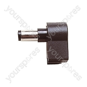 Plastic Right Angled DC Power Line Plug with 10mm Shaft - Centre Hole 2.1mm