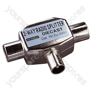 Coaxial T Splitter with Line Socket Input to 2 Coaxial Line Plug Outputs