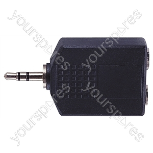 3.5 mm Stereo Plug to 2x 6.35 mm Stereo Sockets Adaptor