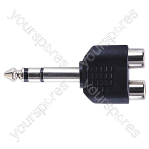 6.35 mm Stereo Plug to 2x RCA Phono Sockets Adaptor