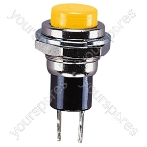 Round Metal Miniature Push Switch - Colour Yellow