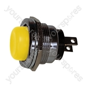 Round Metal Push to Make Button - Colour Yellow