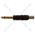 6.35mm Jack Mono Metal Jack Plug With Cable Protector and Solder Terminals