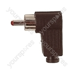 Standard Right Angled Phono Plug with Soft Plastic Cover and Solder Terminals - Colour Black