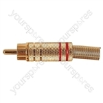 Gold Plated Phono plug with Colour Band, Cable protector and Solder Terminals - Colour Red