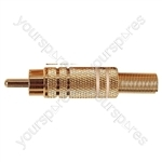 Gold Plated Phono plug with Colour Band, Cable protector and Solder Terminals - Colour White