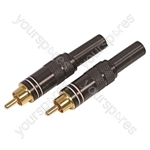 High Quality Gold Plated Phono Plug for Cable up to 6 mm with Solder Terminals