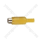 Phono Line Socket with Soft Plastic Cover and Solder Terminals - Colour Yellow