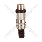Phono Metal Line Socket with Colour Coded Band and Solder Terminals - Colour Black