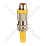 Phono Metal Line Socket with Colour Coded Band and Solder Terminals - Colour Yellow
