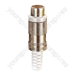 Phono Metal Line Socket with Colour Coded Band and Solder Terminals - Colour White