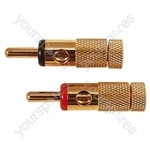 4mm Gold Plated Banana Plugs Set of 4 (2 Red, 2 Black)