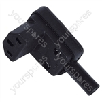 3 Pin IEC Right Angled Line Socket 10A