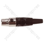 3 Pin Mini XLR Female Line Socket with Gold Contacts and Solder Terminals