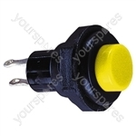 Round Plastic Push Button with Momentary Action - Colour Yellow