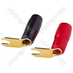 Red/Black Gold Plated Right Angled Crimp Type Spade Terminals For Cable 4-6mm.  Sold as a Pair