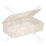 White Size 8 Compartment Box With Hinged Lid and Semi Transparent Finish
