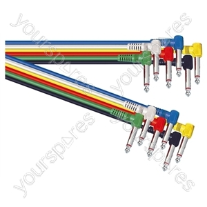 Standard Assorted Coloured 6.35mm Right Angled Jack Plug to 6.35mm Right Angled Jack Plug Screened Leads (6) - Lead Length (m) 0.3