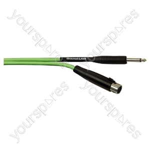Standard Unbalanced Fluorescent 3 Pin XLR to 6.35 mm Jack Plug Microphone Lead - Colour Green