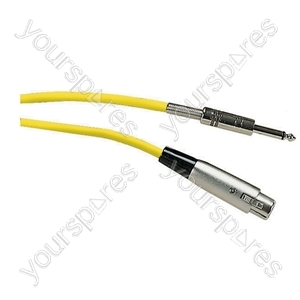 Standard Unbalanced 3 Pin XLR to 6.35 mm Jack Plug Microphone Lead 6M - Colour Yellow