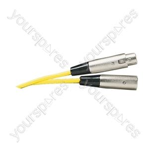 Standard 3 Pin XLR  Plug to XLR Line Socket Microphone Lead 6m - Colour Yellow