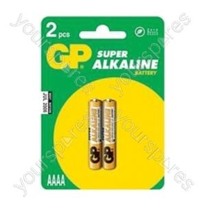 GP GP25A-C2 Super Alkaline AAAA Batteries Pk of 2