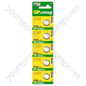 GP Lithium Button Cell Strip of 5 - Type CR1620-C5