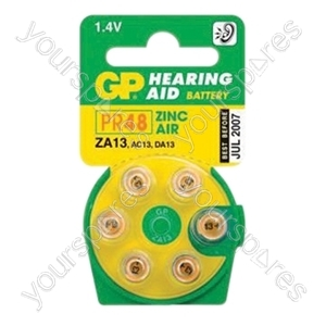 GP Batteries Air Hearing Aid Battery (Pack of 6) - Type GPZA13-D6