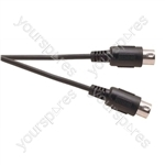 Black 6 m Heavy Duty 4 Core Screened 5 Pin Midi Plug to 5 Pin Midi Plug
