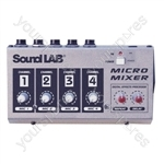 Soundlab 4 Channel Mono Microphone Mixer With Effects