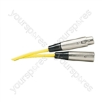 Standard 3 Pin XLR  Plug to XLR Line Socket Microphone Lead 6m - Colour Yellow