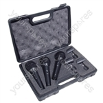 Soundlab Dynamic Professional Vocal Microphone Kit with 3 Microphones and Carry Case
