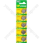 GP Lithium Button Cell Strip of 5 - Type CR2032-C5