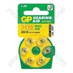 GP Batteries Air Hearing Aid Battery (Pack of 6) - Type GPZA10-D6