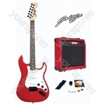 Johnny Brook Standard Guitar Kit with 20W Colour Coded Combo Amplifier - Colour Red