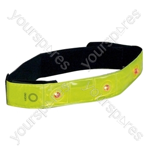 Fluorescent Yellow LED Safety Arm Band with 4 super bright led's. Powered by 1 x CR2032 Battery