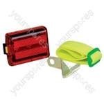 Red Compact LED Safety Warning Light With Mounting Bracket, Arm Strap and Powered By 2x AA Batteries